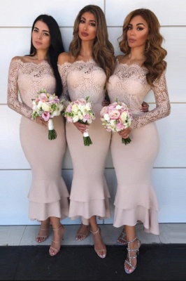 Bridesmaid Off-The-Shoulder Mermaid Ball Gown | Lace Appliques Wedding Party Dresses_1