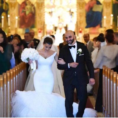 Gorgeous White Tulle Bridal Gowns | V-Neck Mermaid Wedding Dresses_3