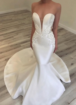 Sexy Sweetheart Fit and Flare Wedding Dresses | Sweetheart Beading Long Bridal Gowns_3