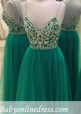 Beading Spaghetti A-line Straps Backless Green New-Arrival Evening Dress_3