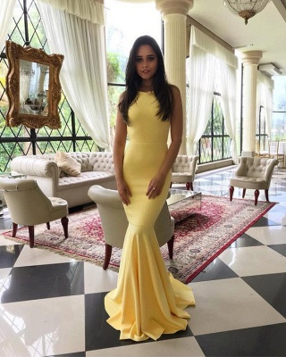 Simple Yellow Mermaid Evening Gowns | Backless Long Prom Dresses_3
