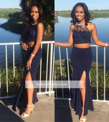 Navy Sheath Side Slit Prom Dress Halter Lace Two Piece Evening Dress_1