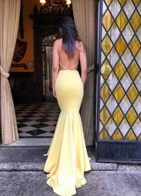 Simple Yellow Mermaid Evening Gowns | Backless Long Prom Dresses_4