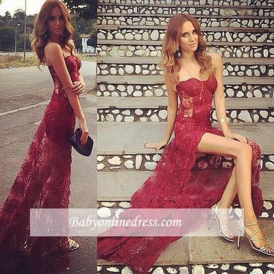 Stunning Burgundy Long Full Lace Sweetheart Split Prom Dress_1