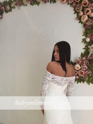 White Lace Modest Long-Sleeve Off-the-shoulder Mermaid Sweep-Train Wedding Dress_1