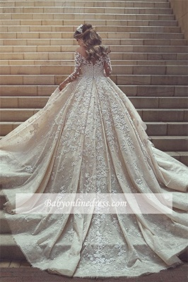 Gorgeous Ruffles Appliques Wedding Gowns Long Sleeves Crystals Tulle Wedding Dresses_5