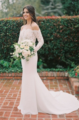 Elegant Off The Shoulder Long Sleeve Backless Lace Fitted Mermaid Wedding Dresses_3