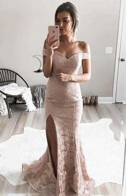 Gorgeous Mermaid Lace Prom Dresses | Off-the-Shoulder Split Evening Gowns_4