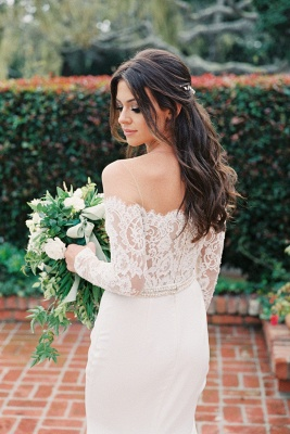 Elegant Off The Shoulder Long Sleeve Backless Lace Fitted Mermaid Wedding Dresses_2