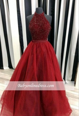 Modest A-line Beads Sleeveless Halter Tulle Prom Dress_3