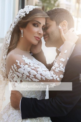 Gorgeous Ruffles Appliques Wedding Gowns Long Sleeves Crystals Tulle Wedding Dresses_4