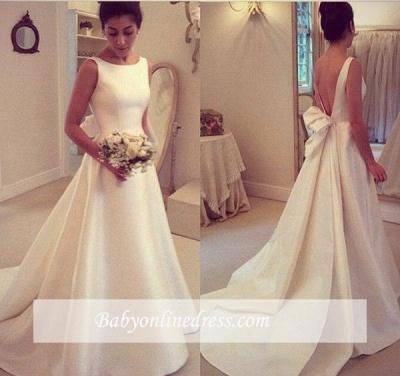 Elegant Backless Sleeveless Sweep Train Jewel Bow A-line Wedding Dress_1
