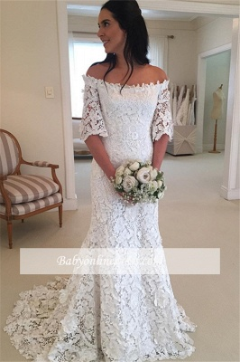 Simple Lace Off-the-Shouler Half-Sleeves Wedding DRess_2