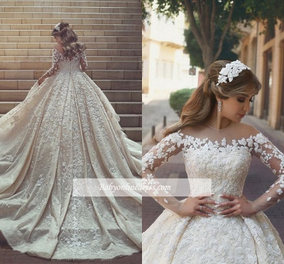 Gorgeous Ruffles Appliques Wedding Gowns Long Sleeves Crystals Tulle Wedding Dresses_1