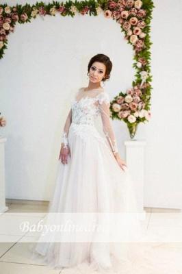 A-line Zipper Button Sweep-Train Lace Appliques Elegant Long-Sleeve Wedding Dress_1