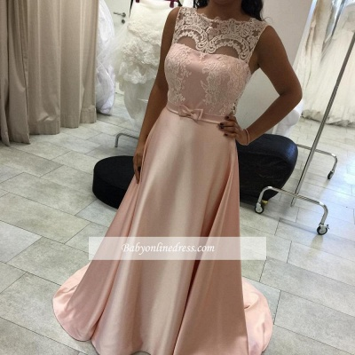 Elegant Long A-Line Evening Dress Lace Sleeveless Prom Dresses_1