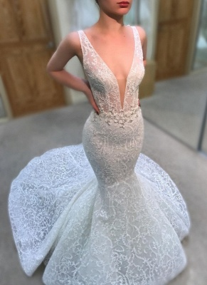 Gorgeous Lace Mermaid Wedding Dresses | V-Neck Sleeveless Beaded See-Through Bridal Gowns_3