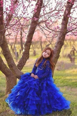 Flower Girls ten layers Party Dresses   Royal Blue Kids Formal Ball Gown