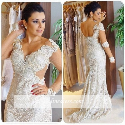 Gorgeous V-Neck Appliques Long Sleeves Sheath Wedding Dress_1