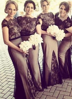 Sheer Black Lace Overlay Short Sleeves Sexy Mermaid Bridesmaid Dresses_4
