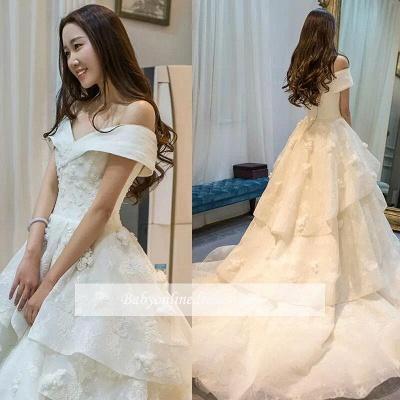 Glamorous Off-the-Shoulder Floor Length Ruffles Princess Lace Wedding Dresses_1