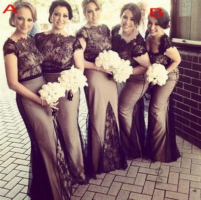 Sheer Black Lace Overlay Short Sleeves Sexy Mermaid Bridesmaid Dresses_1
