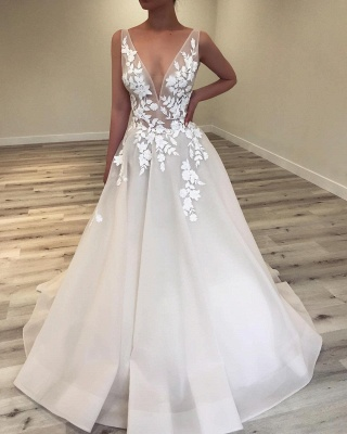 Sexy Sheer A-Line Wedding Dresses | V-Neck Sleeveless Lace Applique Long Bridal Gowns_1