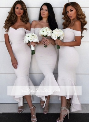 Simple Mermaid Hi-Lo Bridesmaid Dresses | Off-the-Shoulder Maid of the Honor Dress_4