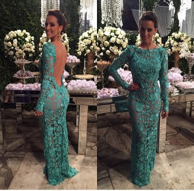 Alluring Sheer Lace Mermaid Prom Dresses Open Back Long-Sleeves Evening Gown_3