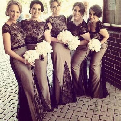 Sheer Black Lace Overlay Short Sleeves Sexy Mermaid Bridesmaid Dresses_3