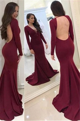 Halter V-neck Long Sleeves Sweep-train Backless Mermaid Evening Dresses_1