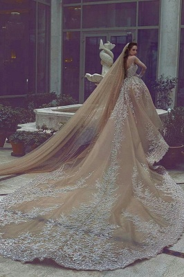 Backless Lace Appliques  Beading Cathedral Ball Gown Wedding Dresses with Long Sleeves_3