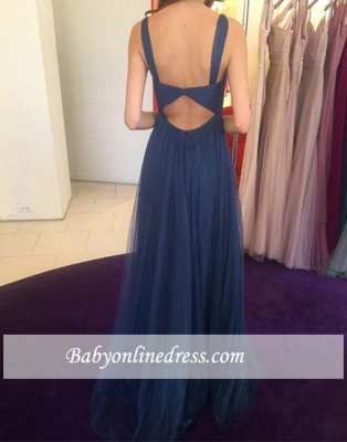 Chiffon Simple Long V-neck Blue Evening Dress_1