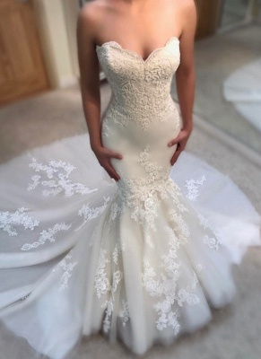 Elegant Summer Mermaid Wedding Dresses | Sweetheart Neck Appliques Sleeveless Bridal Gowns_1