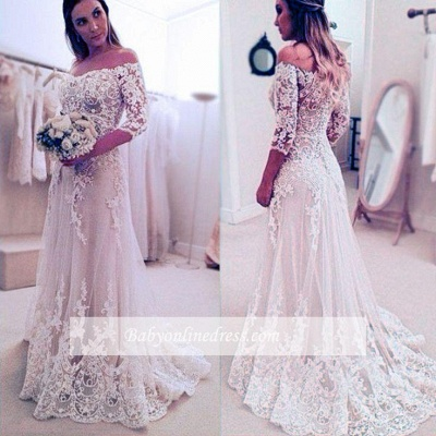 Elegant Lace Appliques A-line Sleeves Off-the-Shoulder Wedding Dresses_1