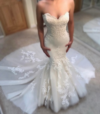 Elegant Summer Mermaid Wedding Dresses | Sweetheart Neck Appliques Sleeveless Bridal Gowns_3