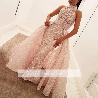 Illusion Overskirt Sheath Popular Unique High-Neck Sleeveless Puffy Lace Prom Dress_1