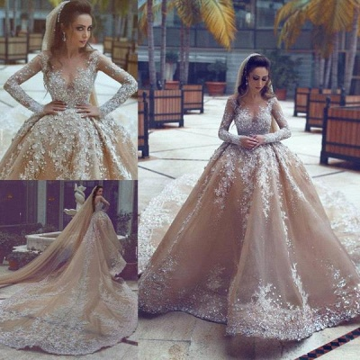 Backless Lace Appliques  Beading Cathedral Ball Gown Wedding Dresses with Long Sleeves_4