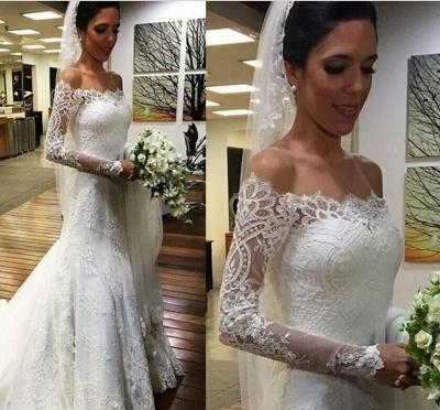 Elegant Off the Shoulder Mermaid Lace Beach Wedding Dresses with Sleeves_3