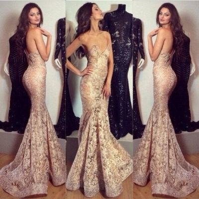 Alluring Mermaid Sweetheart-Neck Prom Dress Champagne Lace Evening Gowns_3