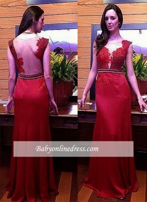 Glamorous Red Lace Long Prom Dresses Sleeveless Crystal Evening Dress_1