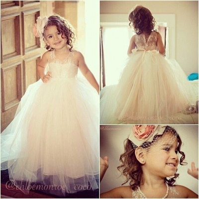 Flower Girl's Dresses Lace Tulle Pearls Beaded with Bow Girl's Formal Dresses_3