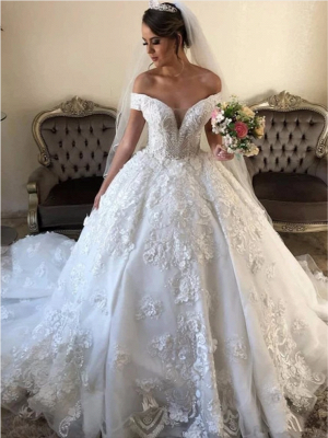Off the Shoulder Gorgeous Lace Ball Gown Wedding Dresses_4