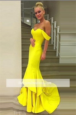 Sexy Off-the-Shoulder Mermaid Prom Dress 2018 Sweep-Train Tiered Evening Gowns_4