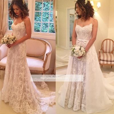 Sexy Sheath Backless Appliques Spaghetti-Straps Wedding Dresses_1
