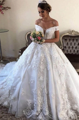Off the Shoulder Gorgeous Lace Ball Gown Wedding Dresses_1