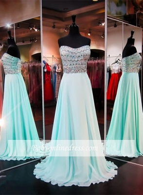 Straps Strapless Sleeveless A-line Prom Dress Crystals Chiffon Evening Gowns_3