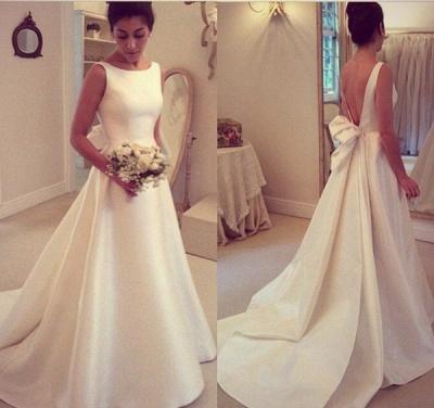 Elegant Backless Sleeveless Sweep Train Jewel Bow A-line Wedding Dress_3