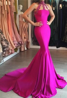 2018 Sweep-Train Sleeveless High-Neck Lace-appliques Mermaid Modest Prom Dress BA6354_2