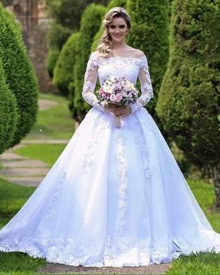 Long-Sleeve Princess Button Lace Zipper Wedding Dresses_5